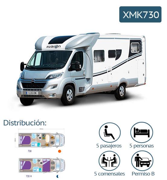 características de la autocaravana xmk730
