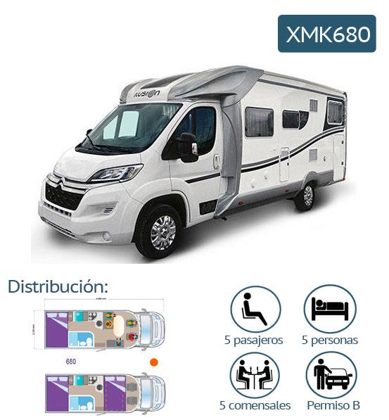 características de la autocaravanas xmk680 para alquiler